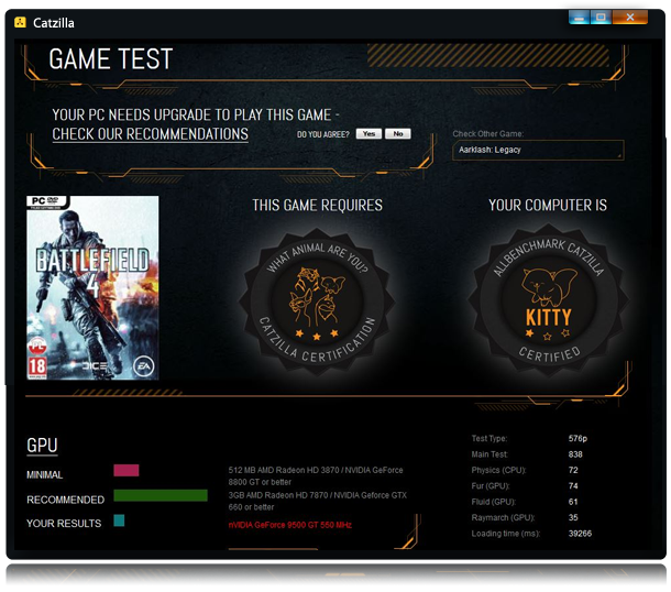 Cazilla Benchmark - test game result